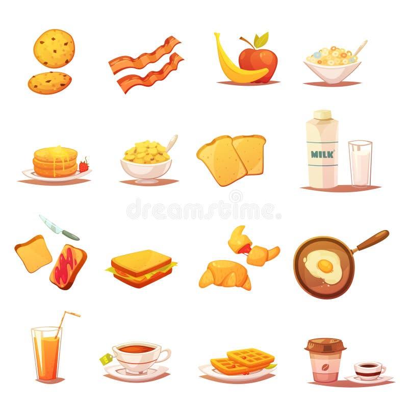 Retro icone degli elementi classici della prima colazione messe illustrazione di stock