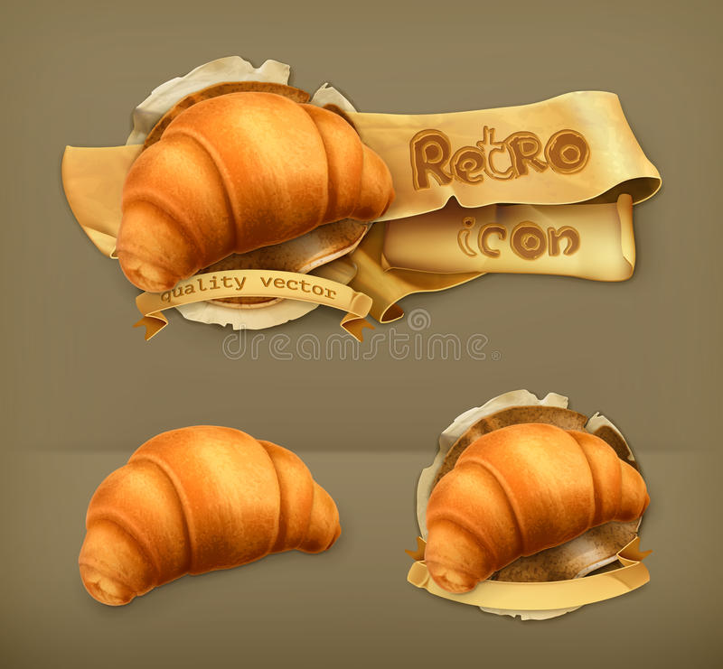 Retro icone di vettore del croissant illustrazione di stock