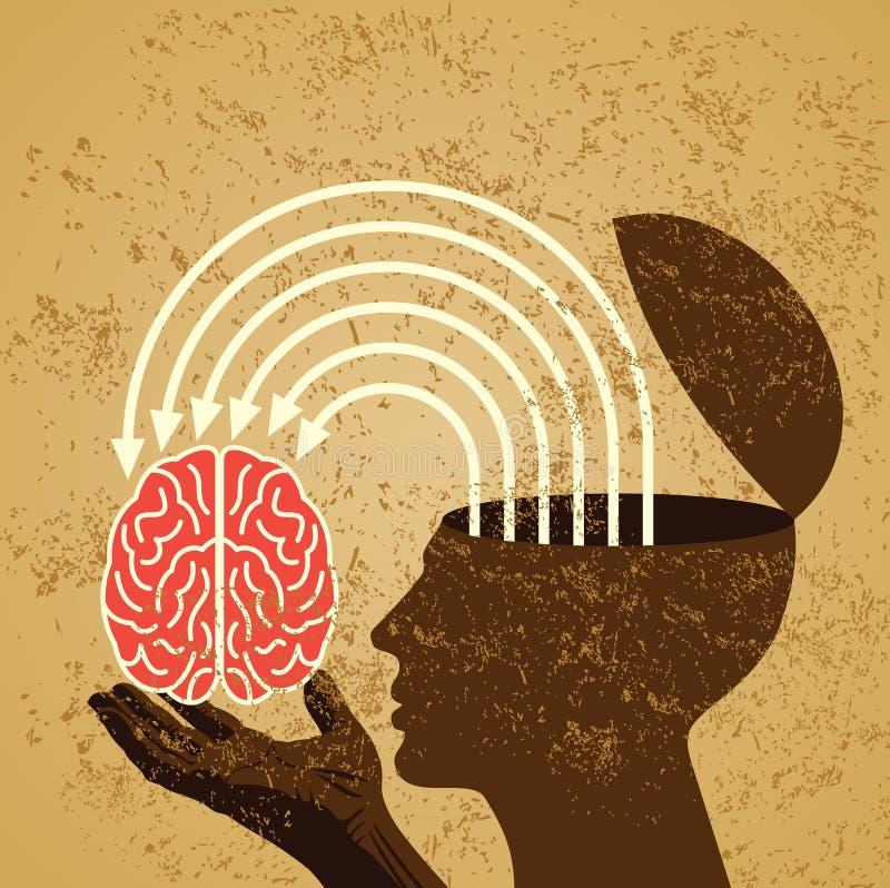 Retro idee met menselijke hersenen vector illustratie