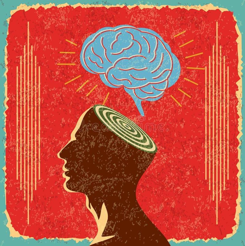 Retro idee met menselijke hersenen royalty-vrije illustratie