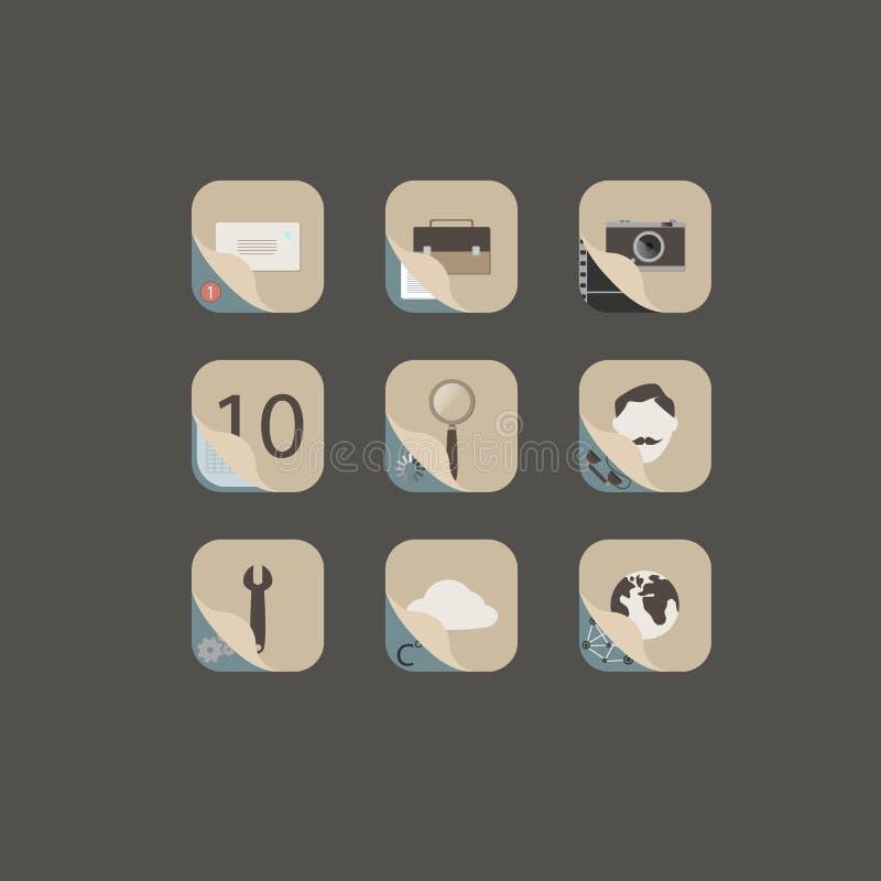 Retro- Ikonen des Kontaktwebs und -internets eingestellt stockbilder