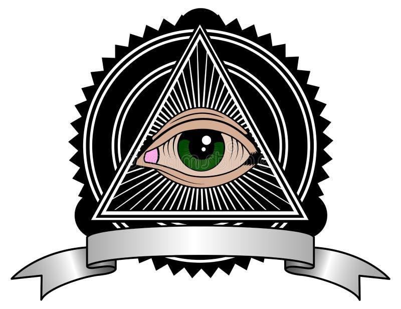 All Seeing Eye Pyramid Retro Symbol
