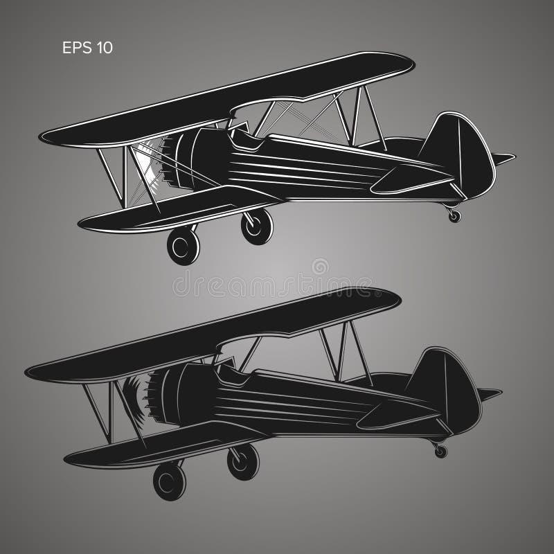 Retro- illusration flacher Vektor des Doppeldeckers WeinleseKolbentriebwerkflugzeug lizenzfreie abbildung