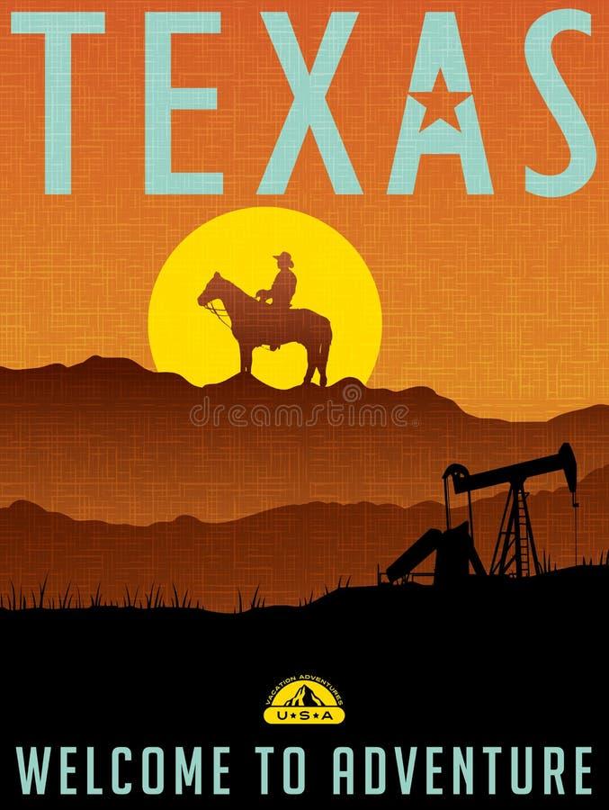 Retro illustrated travel poster for Texas vector illustration