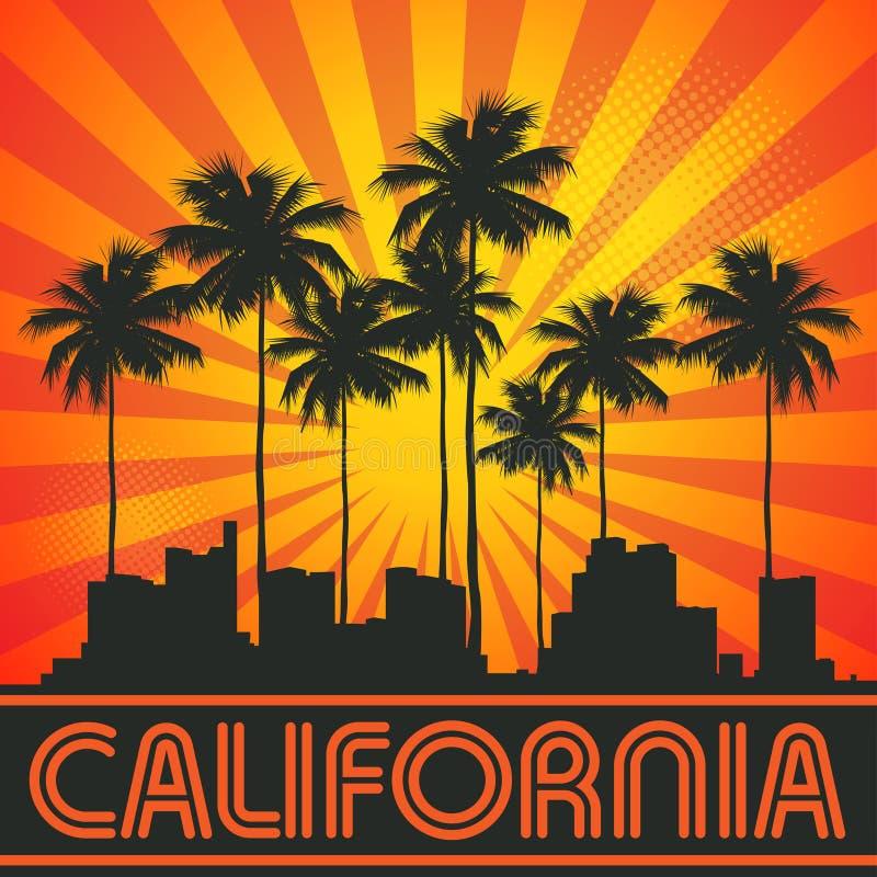 Retro illustratie met stadshorizon en tekst Californië vector illustratie