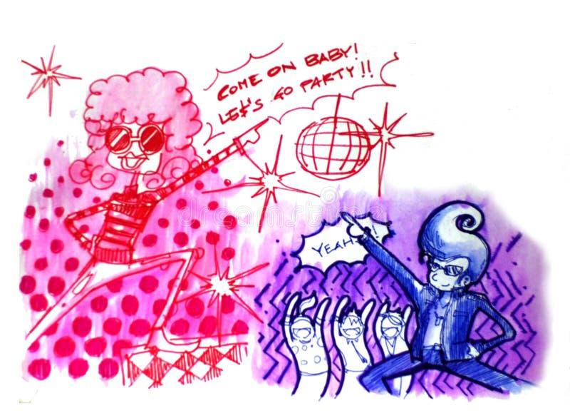 Retro illustratie van de discopartij royalty-vrije illustratie