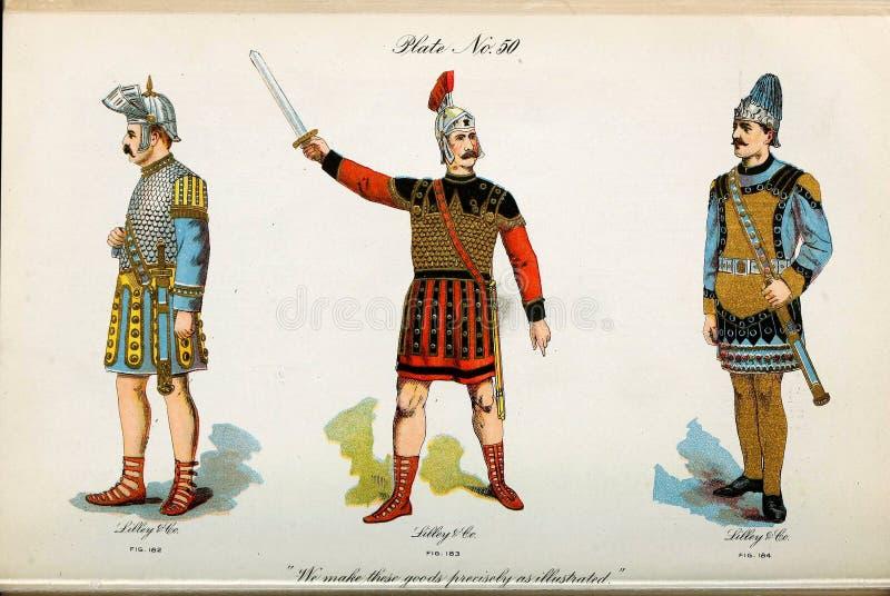 Retro illustratie van kostuums van verschillende era's vector illustratie
