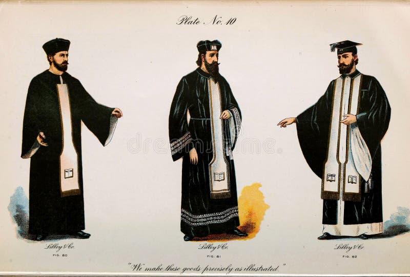 Retro illustratie van kostuums van verschillende era's stock illustratie