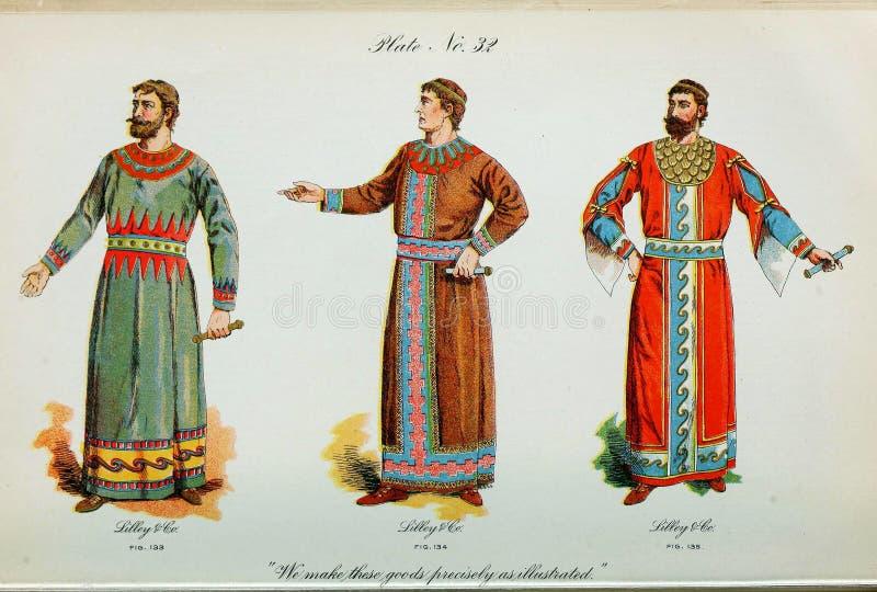 Retro illustratie van kostuums van verschillende era's royalty-vrije illustratie
