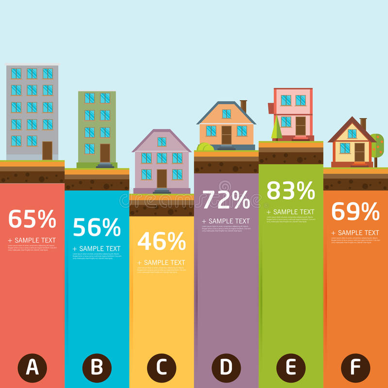 Retro- Illustration der Stadtfahne mit buntem Ikonen infographics stock abbildung