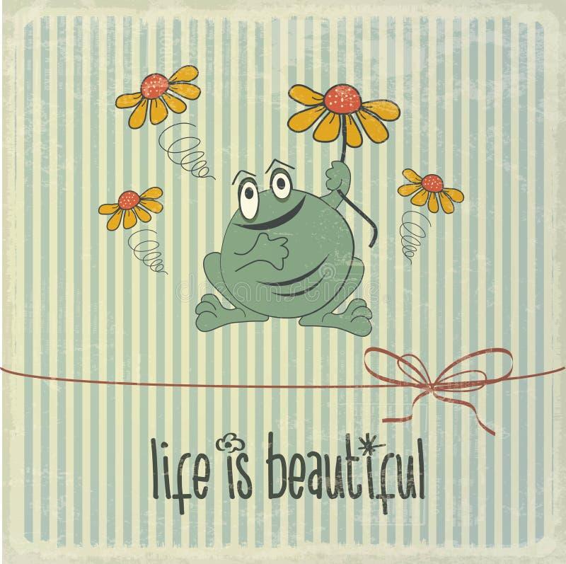 Retro illustration med den lyckliga grodan och uttryck royaltyfri illustrationer