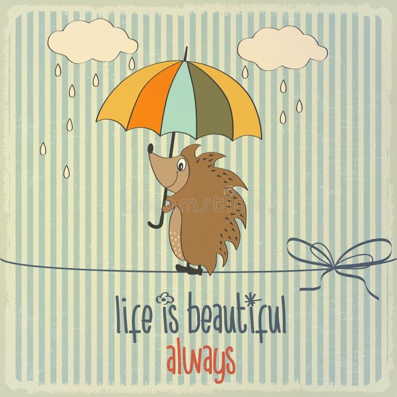 Retro illustration med den lyckliga igelkotten och uttryck stock illustrationer