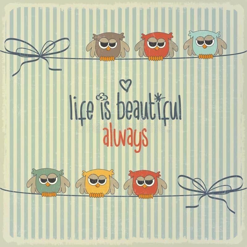 Retro illustration med lyckliga ugglor och uttryck stock illustrationer