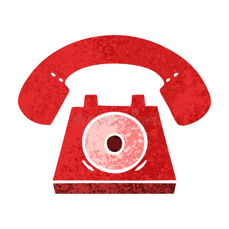 retro illustration style cartoon red telephone vector illustration