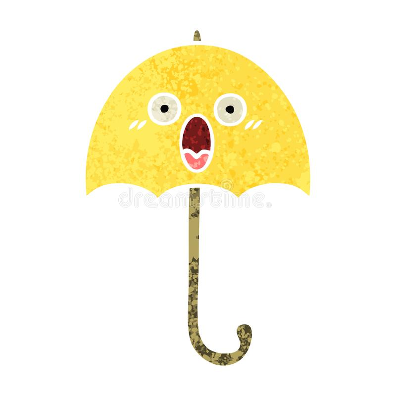 retro illustration style cartoon of a umbrella royalty free illustration