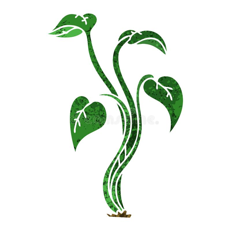 Retro illustration style quirky cartoon plant. Illustrated retro illustration style quirky cartoon plant royalty free illustration