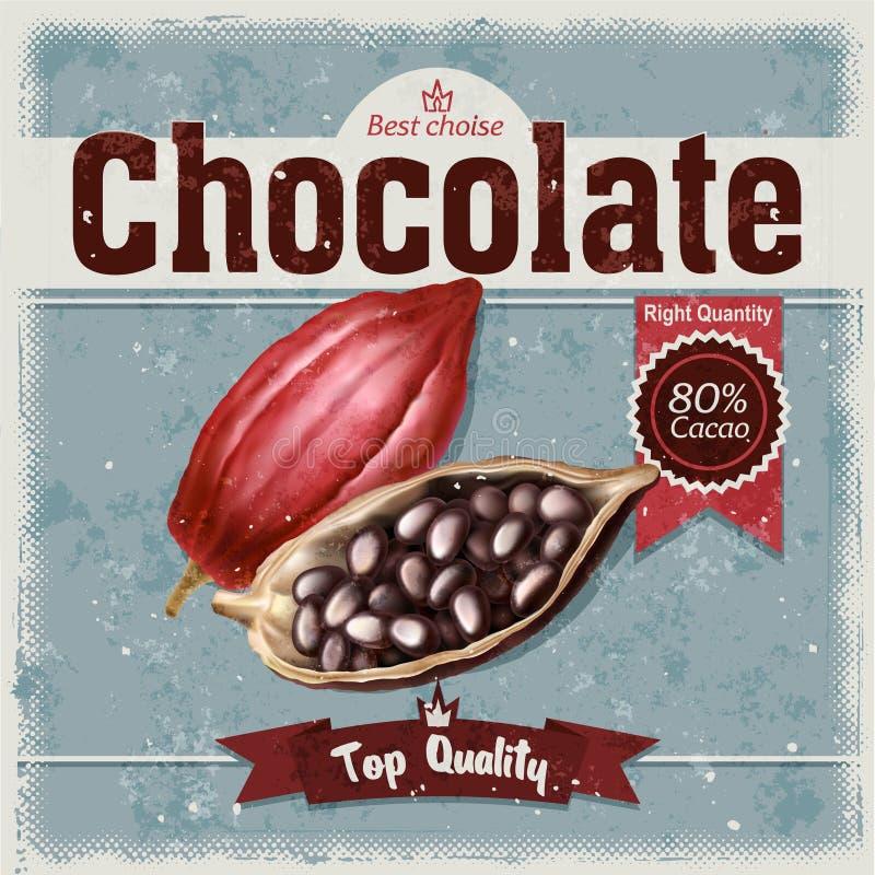 Retro- Illustration von Kakaobohnen, Frucht des Schokoladenbaums auf Schmutzhintergrund lizenzfreie stockfotos