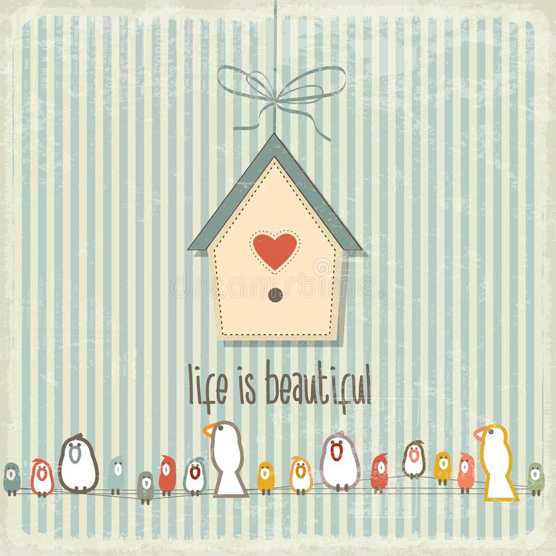 Free Retro Illustration With Happy Birds And Phrase Royalty Free Stock Images - 46103079