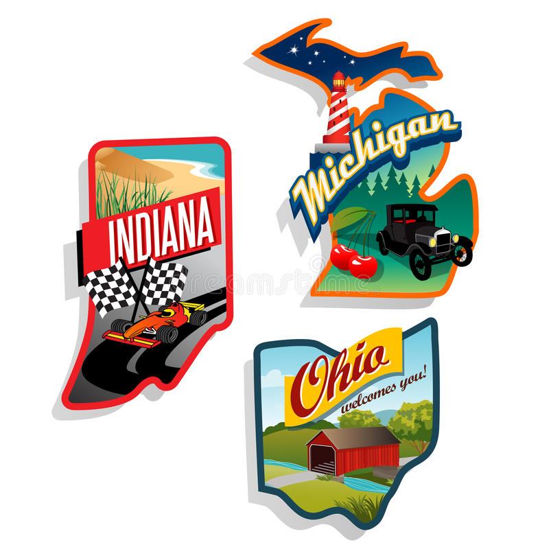 Retro illustrationer Indiana, Ohio, Michig för USA-stat