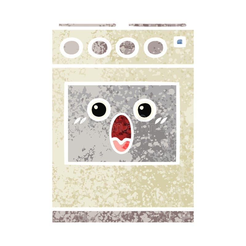 Retro- Illustrationsartkarikatur-K?chenofen lizenzfreie abbildung