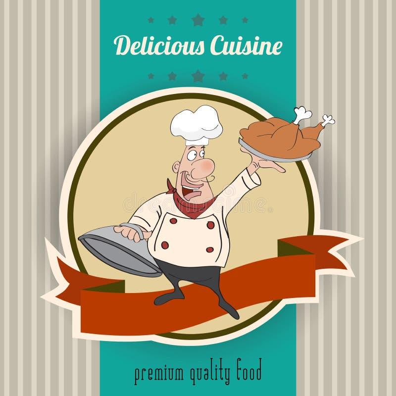 Retro illustrazione con il cuoco ed il messaggio delizioso di cucina illustrazione di stock