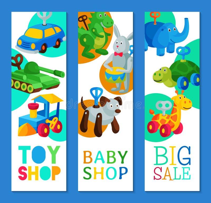Retro illustrazione d'annata di vettore di concetto del negozio del bambino del robot del giocattolo di movimento a orologeria Gi illustrazione vettoriale
