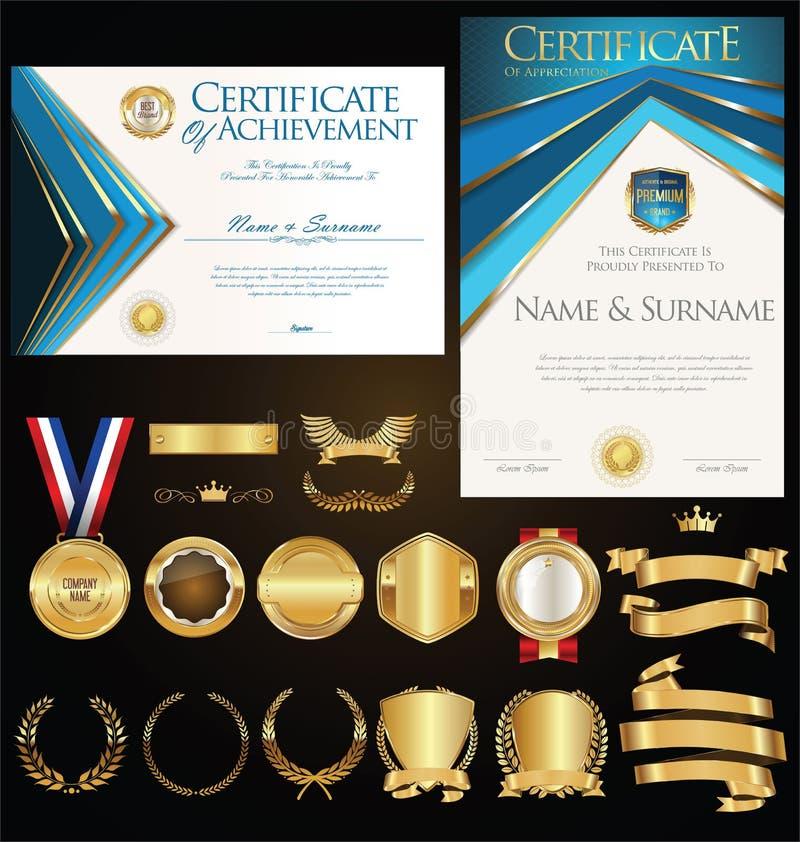 Retro illustrazione del modello del diploma o del certificato royalty illustrazione gratis