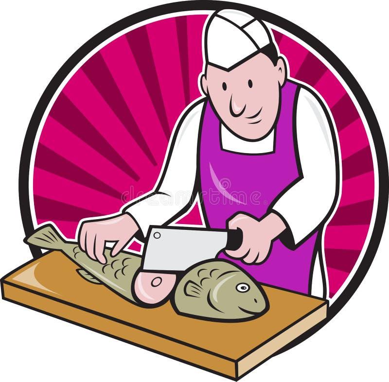 Macellaio Fishmonger Cartoon Del Cuoco Unico Di Sushi ...