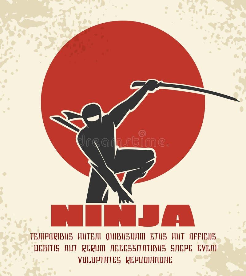 Retro illustrazione di vettore del manifesto di Ninja Siluetta nera del combattente giapponese sul fondo rosso del sole royalty illustrazione gratis