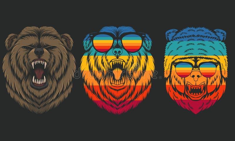 Retro illustrazione di vettore dell'orso arrabbiato royalty illustrazione gratis