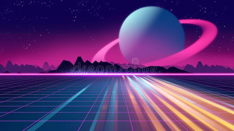 Retro illustrazione futuristica di stile 3d degli anni 80 del fondo illustrazione vettoriale