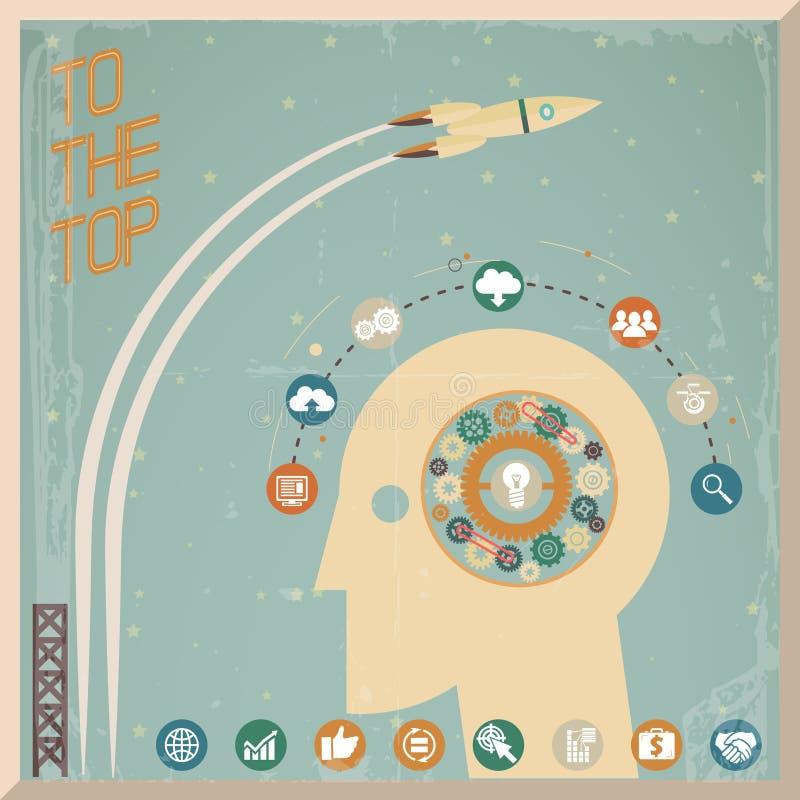 Retro illustrazione piana di vettore del fondo dello spazio delle icone della ruota di ingranaggio della generazione di Head Thoug royalty illustrazione gratis
