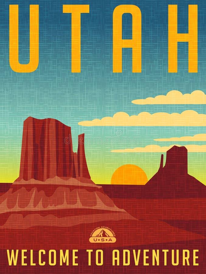 Retro illustrerad loppaffisch för Utah vektor illustrationer