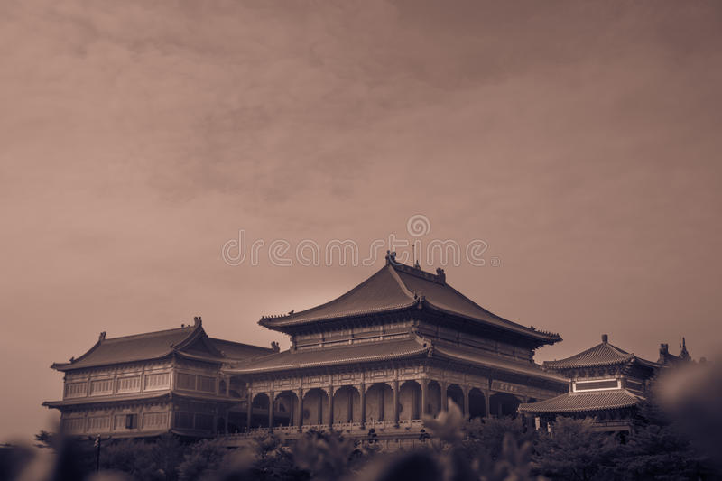Retro image style. Traditional and architecture Chinese style temple at Wat Mangkon Kamalawat or Wat Leng Noei Yi stock image