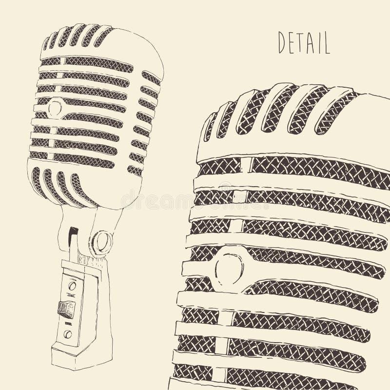 Retro inciso annata del microfono dello studio royalty illustrazione gratis