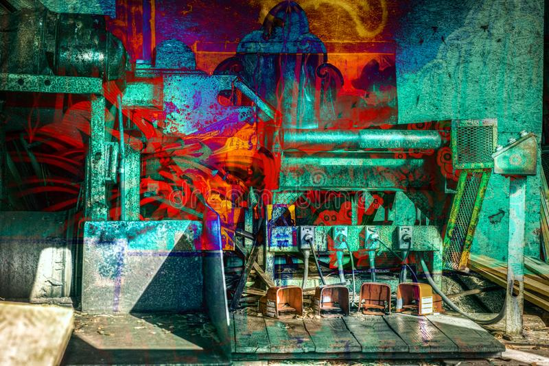 RETRO- industrielles abstraktes Doppelbelichtungs-Feuer lizenzfreie abbildung