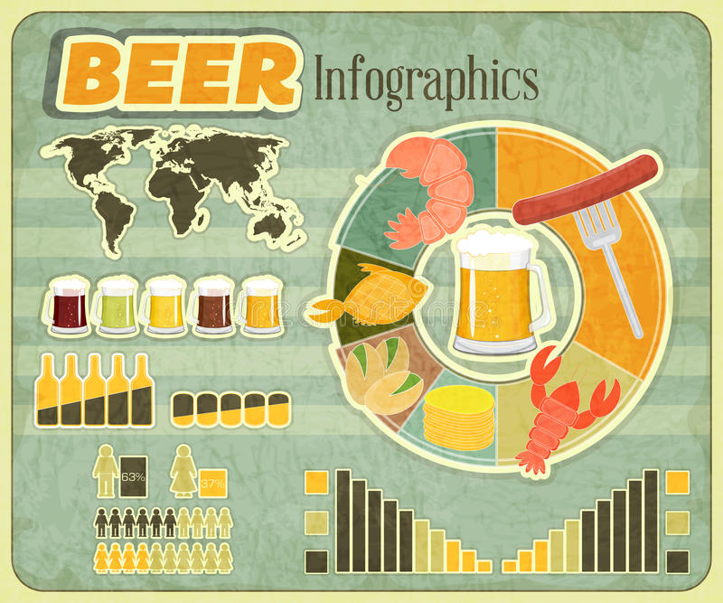 Download Retro Infographics Design - Beer Icons, Snack Stock Vector - Image: 27659653