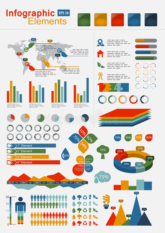 Download Retro Infographics Elements With World Map Stock Vector - Image: 24296232