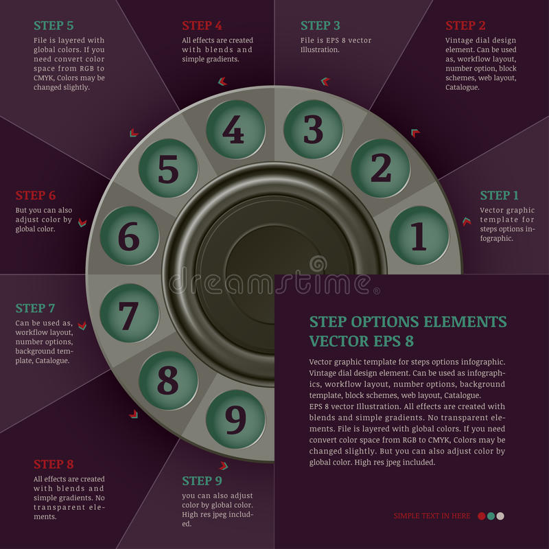 Retro- infographics Entwurfsschablone (Schritte oder Wahlen) stock abbildung