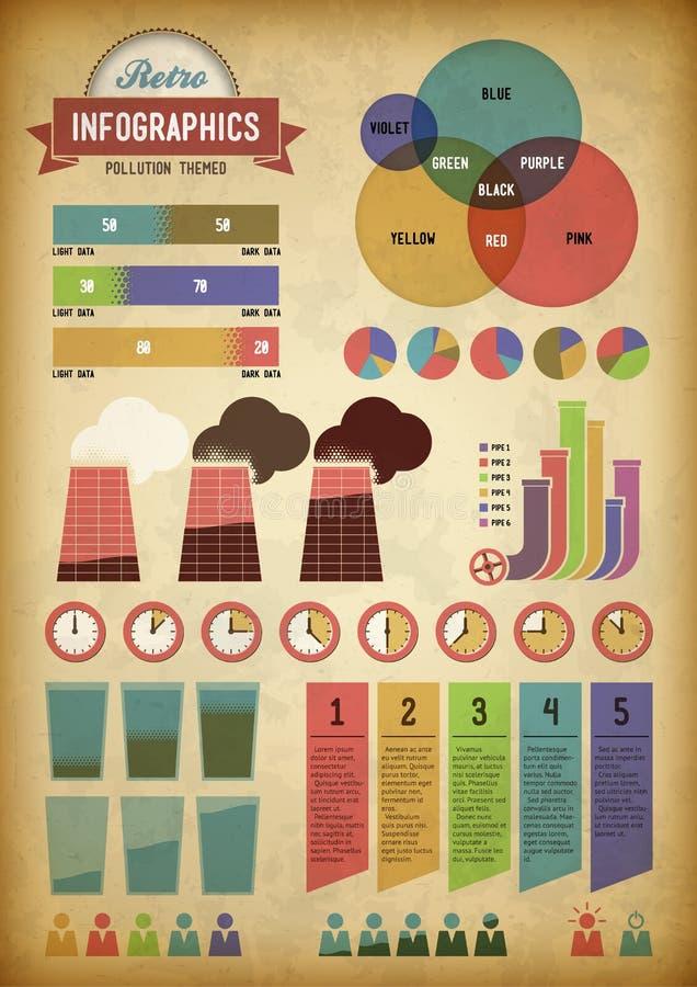 Retro infographics met pijpen stock fotografie