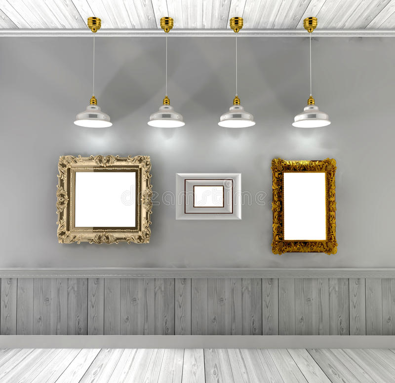 Retro- Innenraum mit leeren Malereien im Goldrahmen und in den Deckenleuchten vektor abbildung