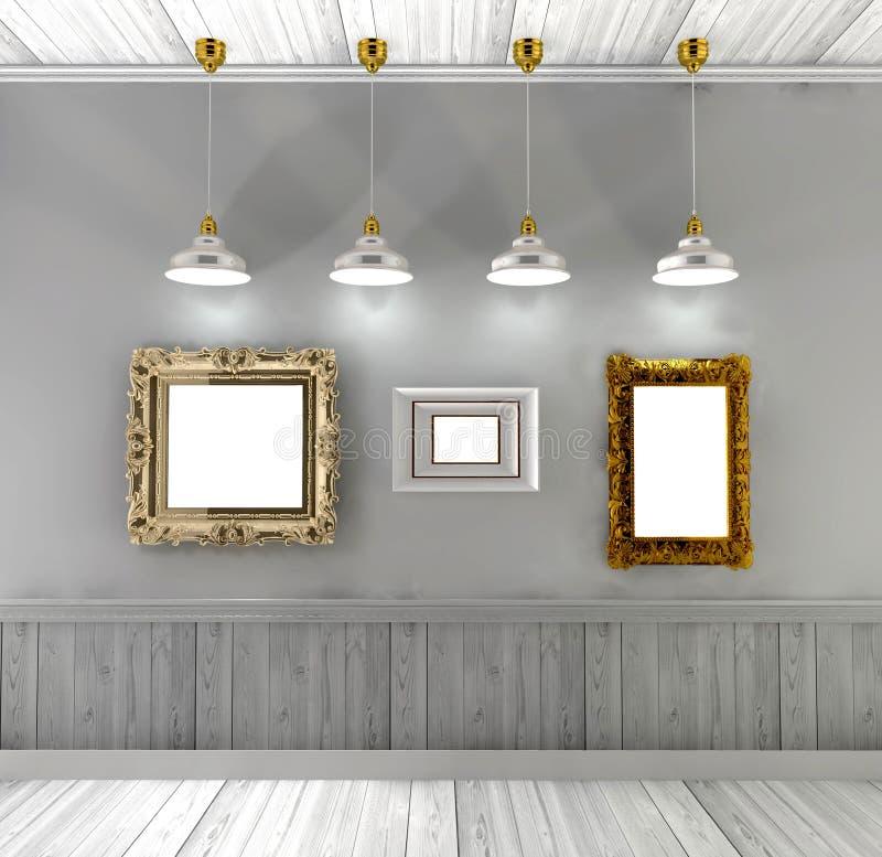 Retro inre med tomma målningar i guld- ram- och takljus vektor illustrationer