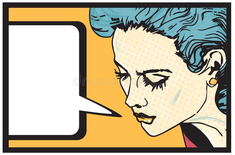 Retro insegna del fondo di stile dei fumetti della donna illustrazione vettoriale