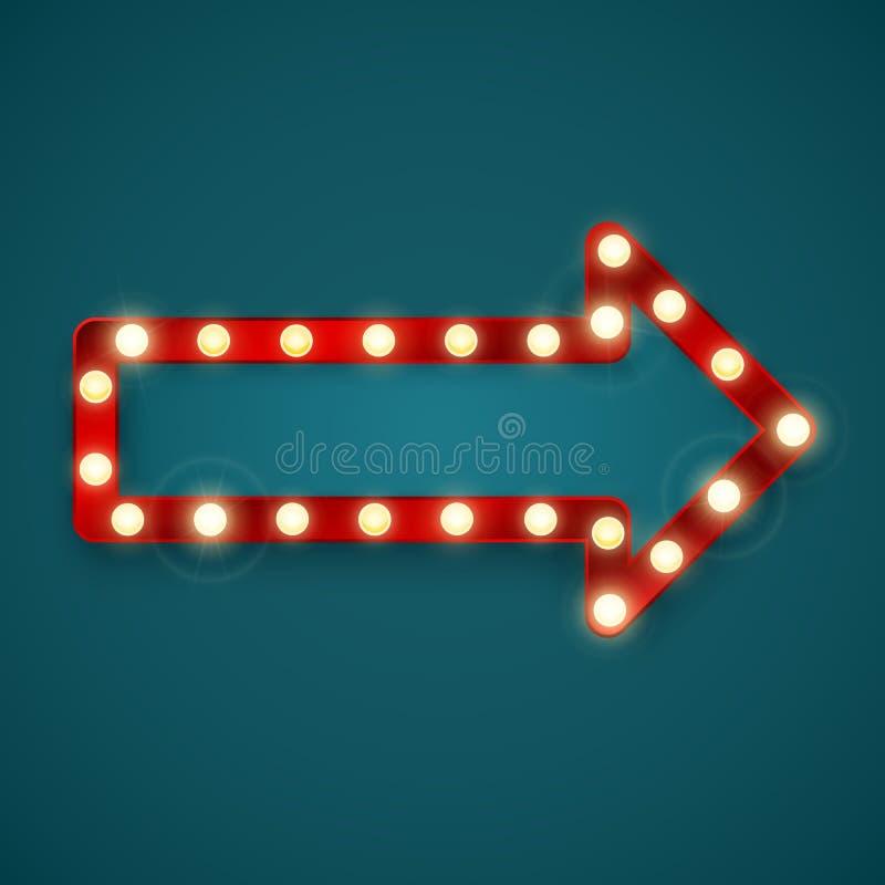 Retro insegna della freccia Cartellone pubblicitario in casinò o in motel Illustrazione di vettore illustrazione vettoriale