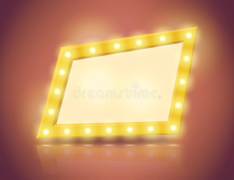 Retro insegna di forma irregolare con le lanterne luminose sul confine royalty illustrazione gratis
