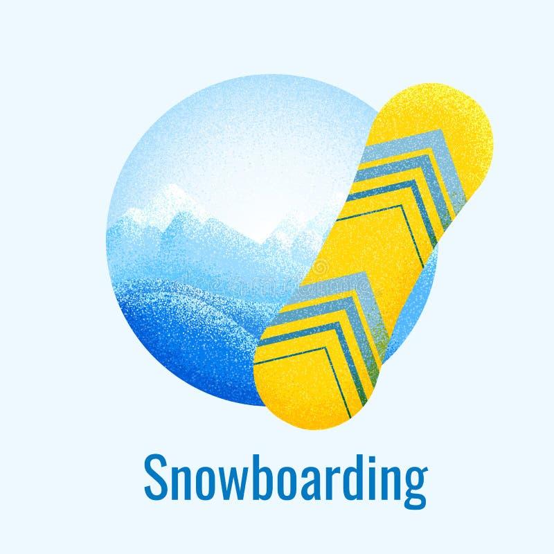 Retro insegna di snowboard illustrazione vettoriale