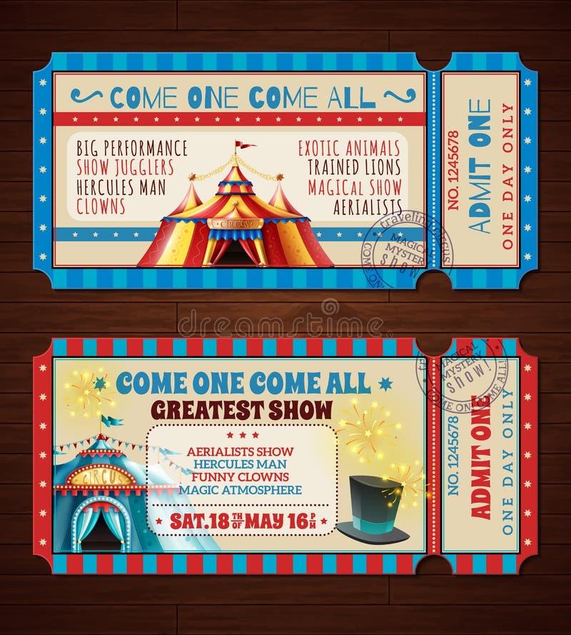 Retro insegne dei biglietti del circo messe illustrazione vettoriale