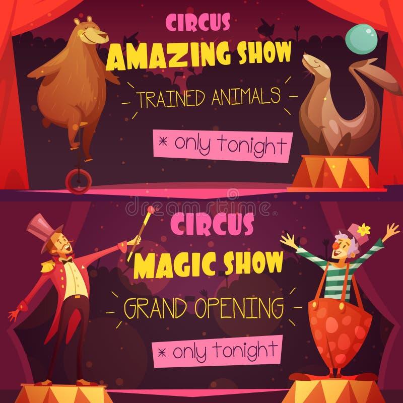 Retro insegne del fumetto del circo 2 messe royalty illustrazione gratis
