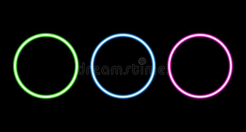 Retro insieme al neon del cerchio isolato su fondo nero royalty illustrazione gratis