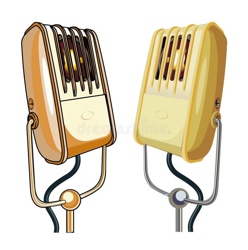 Retro insieme dei microfoni di vettore isolato su fondo bianco illustrazione vettoriale